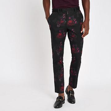 River Island Mens Floral Skinny Suit Pants