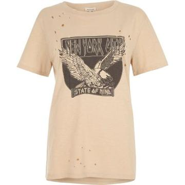 River Island Womens Nyc Print Distressed Rock T-shirt
