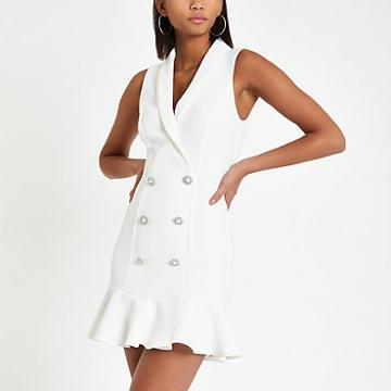 River Island Womens White Diamante Embellished Bodycon Tux Dress