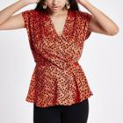 River Island Womens Print Wrap Tuck Front Blouse