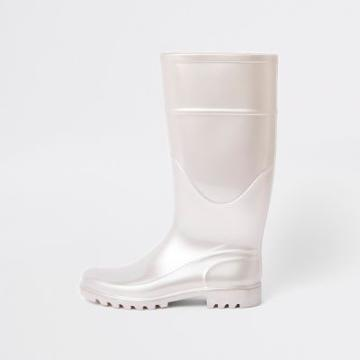 River Island Womens White Wellie Boots