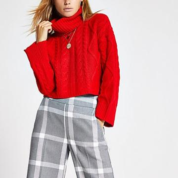 River Island Womens Cable Knitted Roll Neck Crop Jumper