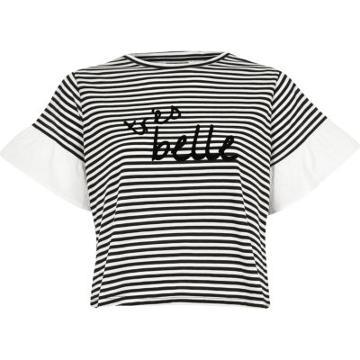 River Island Womens Petite Stripe 'tres Belle' T-shirt