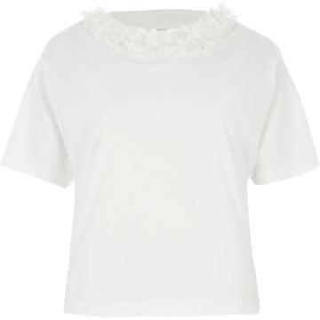 River Island Womens White Flower Neck Boxy T-shirt