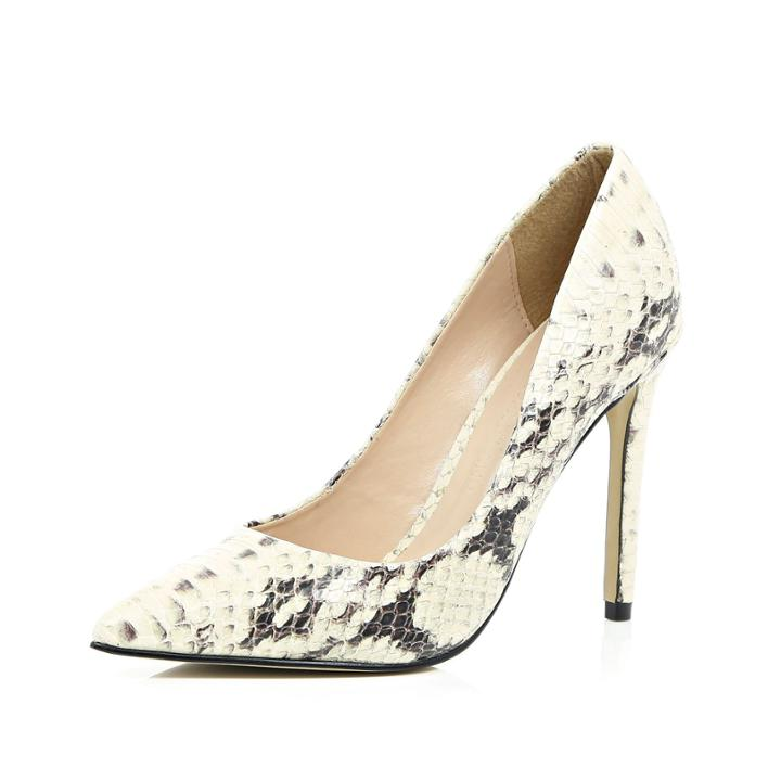 River Island Womens Snake Print Leather Court Heels