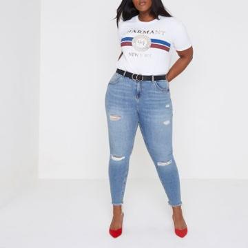 River Island Womens Plus White 'charmant' Print Boyfriend T-shirt