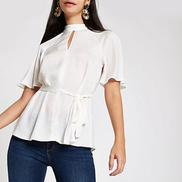 River Island Womens White Tie Waist Batwing Sleeve Blouse