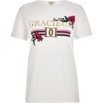 River Island Womens White 'gracieux' Foil Print Fitted T-shirt