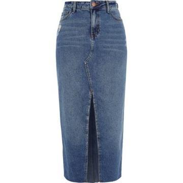 River Island Womens Split Front Denim Pencil Skirt