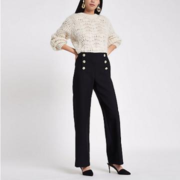 River Island Womens Gold Tone Button Wide Leg Trousers