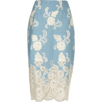River Island Womens Floral Lace Pencil Skirt