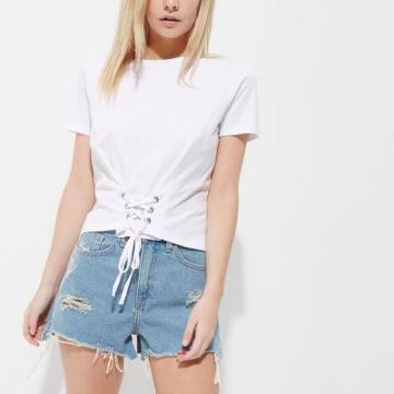 River Island Womens Petite White Corset Cropped T-shirt