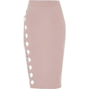 River Island Womens Cut Out Studded Pencil Skirt
