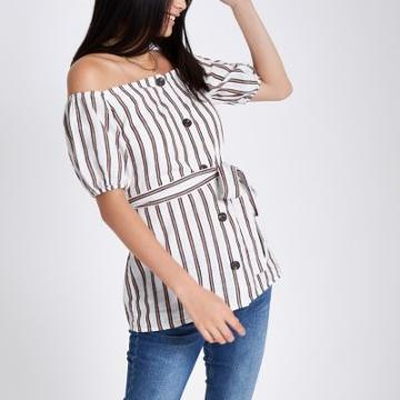 River Island Womens Stripe Button-up Bardot Top