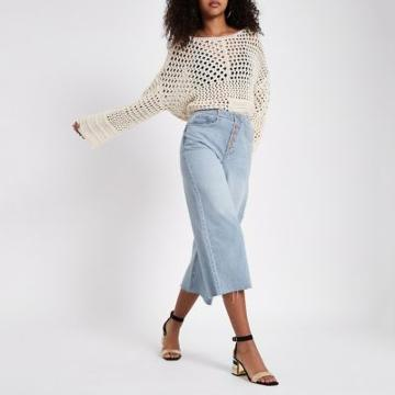 River Island Womens Alexa Frayed Hem Culottte Jeans