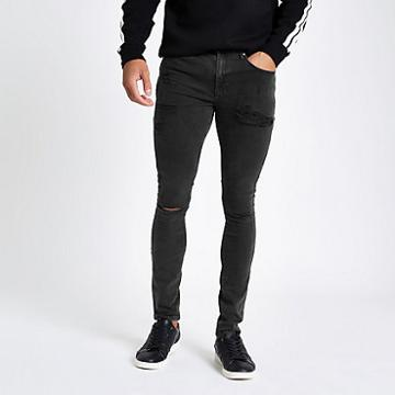 River Island Mens Spray On Ripped Ollie Jeans