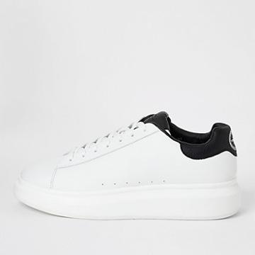 River Island Mens White Croc Embossed Lace-up Trainers