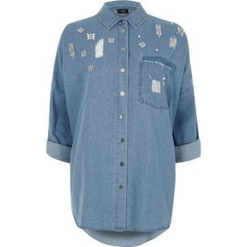 River Island Womens Jewel Embellished Distressed Denim Shirt