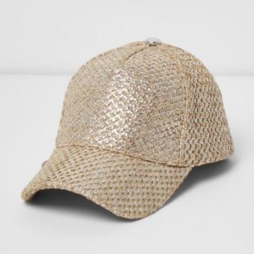 River Island Womens Gold Foil Straw Cap