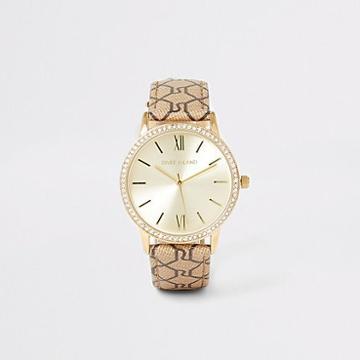 River Island Womens Gold Diamante Ri Monogram Strap Watch