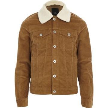 River Island Mens Fleece Collar Cord Jacket