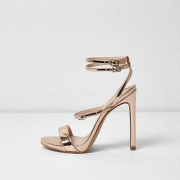 River Island Womens Gold Wide Fit Metallic Strappy Sandals