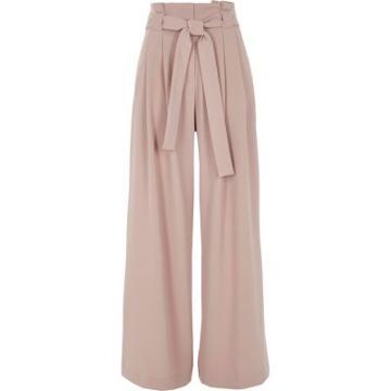 River Island Womens Nude Tie Belt Wide Leg Trousers