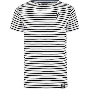 River Island Mens Year Dot White Stripe T-shirt