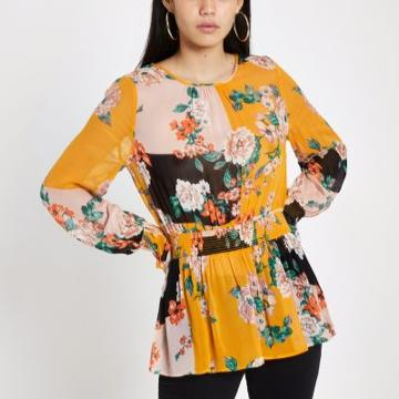 River Island Womens Floral Print Shirred Blouse