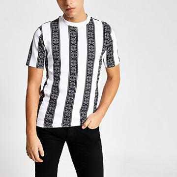 River Island Mens White Paisley Stripe Regular Fit T-shirt