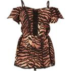 River Island Womens Tiger Print Bardot Romper