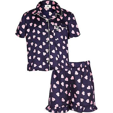 River Island Womens Girls Heart Print Pyjama Set