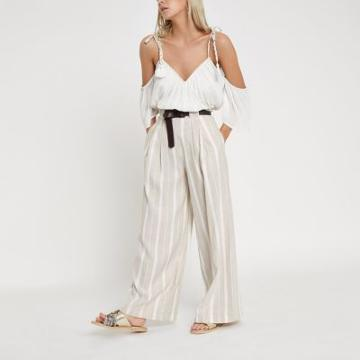 River Island Womens Petite Stripe Belted Wide Leg Pants