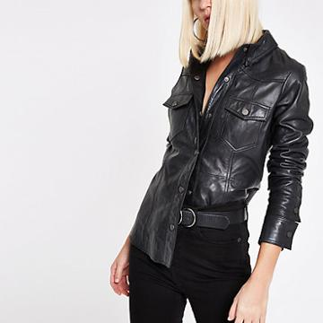 River Island Womens Ri Studio Leather Popper Front Shirt