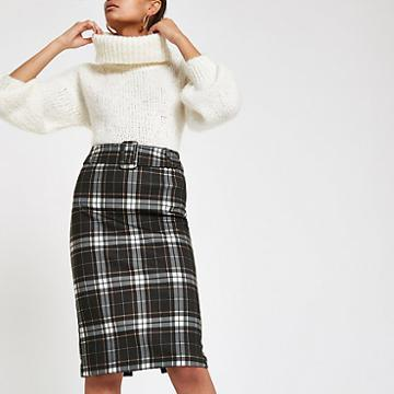 River Island Womens Check Belted Pencil Skirt