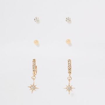 River Island Womens Gold Pave Star Hoop Earrings Multipack