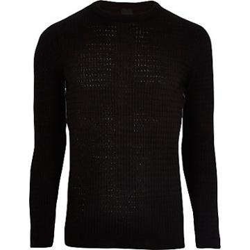 River Island Mens Cable Knit Tape Side Muscle Fit Jumper