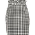 River Island Womens White Gingham Paperbag Waist Mini Skirt
