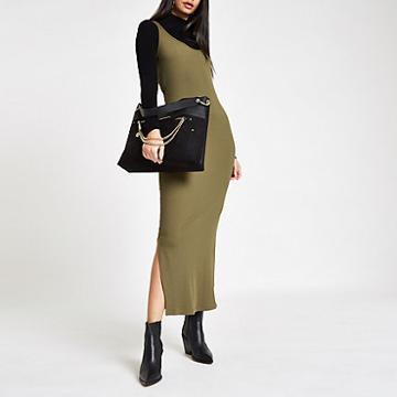 River Island Womens Ribbed Scoop Neck Bodycon Maxi Dress