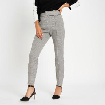 River Island Womens Check High Waisted Fitted Trousers