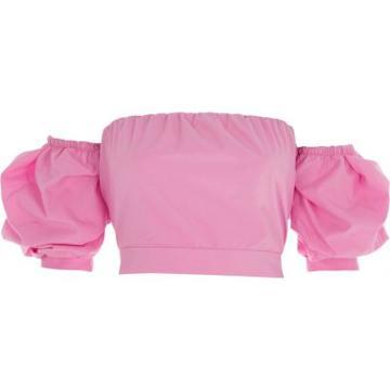 River Island Womens Puff Sleeve Tie Back Bardot Crop Top