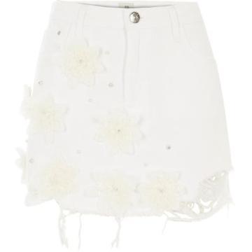 River Island Womens White Lace 3d Flower Ripped Denim Skirt