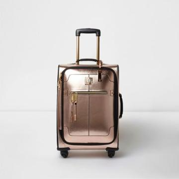 River Island Womens Rose Gold Metallic Four Wheel Suitcase