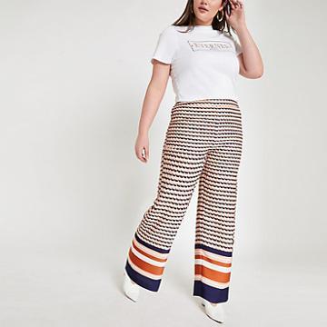 River Island Womens Plus Geo Print Wide Leg Trousers