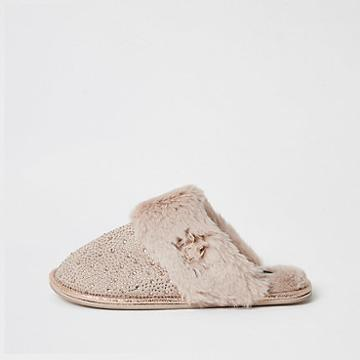 River Island Womens Diamante Embellished Mule Slippers