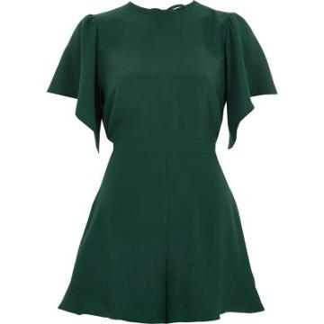 River Island Womens Petite Waisted Wide Sleeve Playsuit