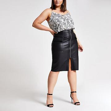 River Island Womens Plus Faux Leather Utility Pencil Skirt
