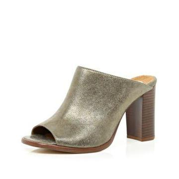 River Island Gold Metallic Block Heel Mules