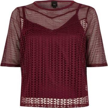 River Island Womens Open Mesh Slim Fit T-shirt