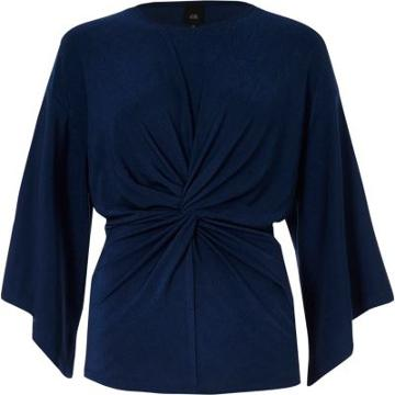 River Island Womens Twist Front Bell Sleeve Top
